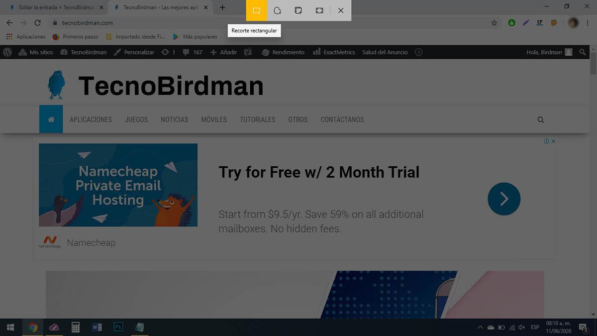 Hacer captura de pantalla Windows 10