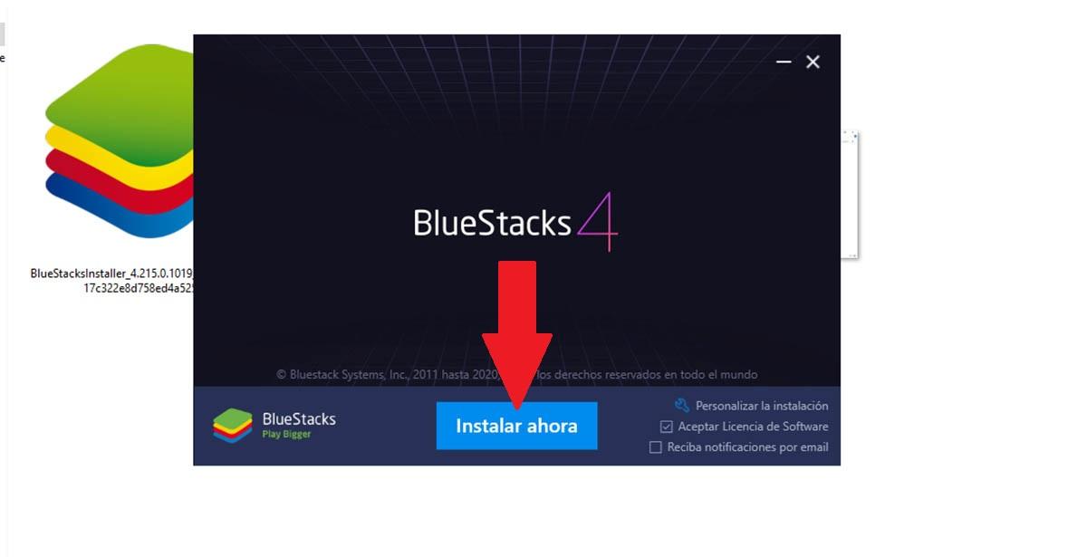 Instalador BlueStacks PC