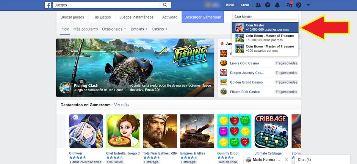 Abrir Coin Master en Facebook PC