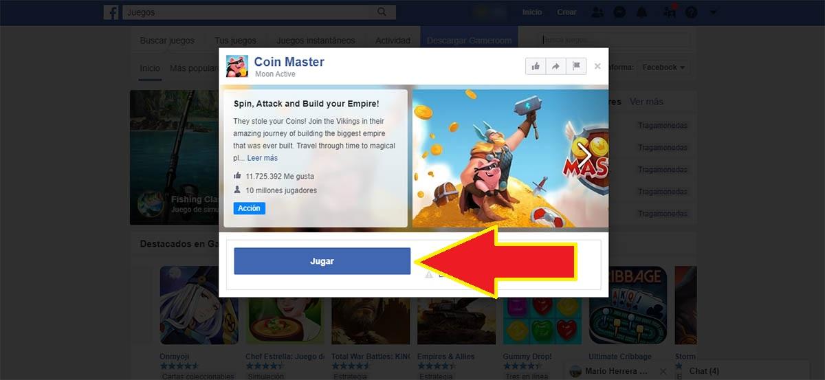 Jugar Coin Master en Facebook