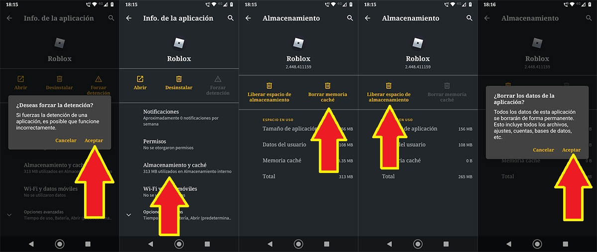 Borrar caché Roblox Android