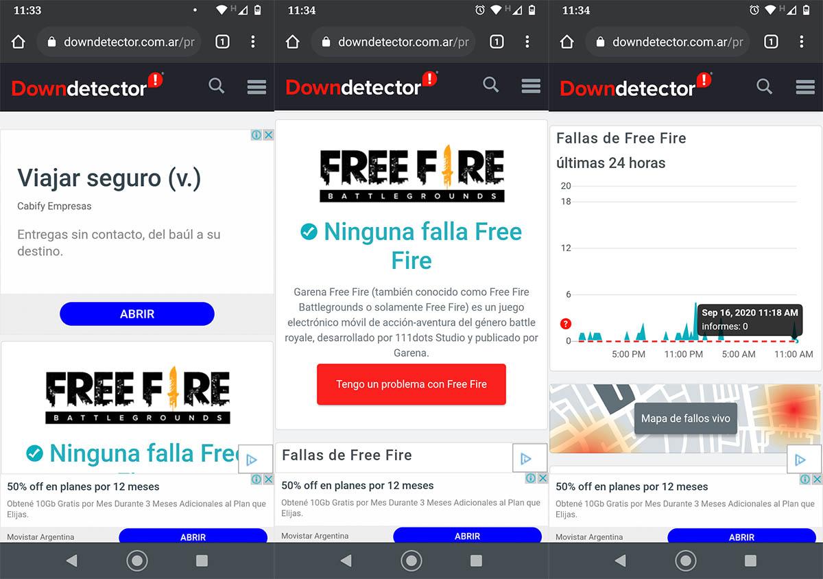 Cómo saber si Free Fire está caído