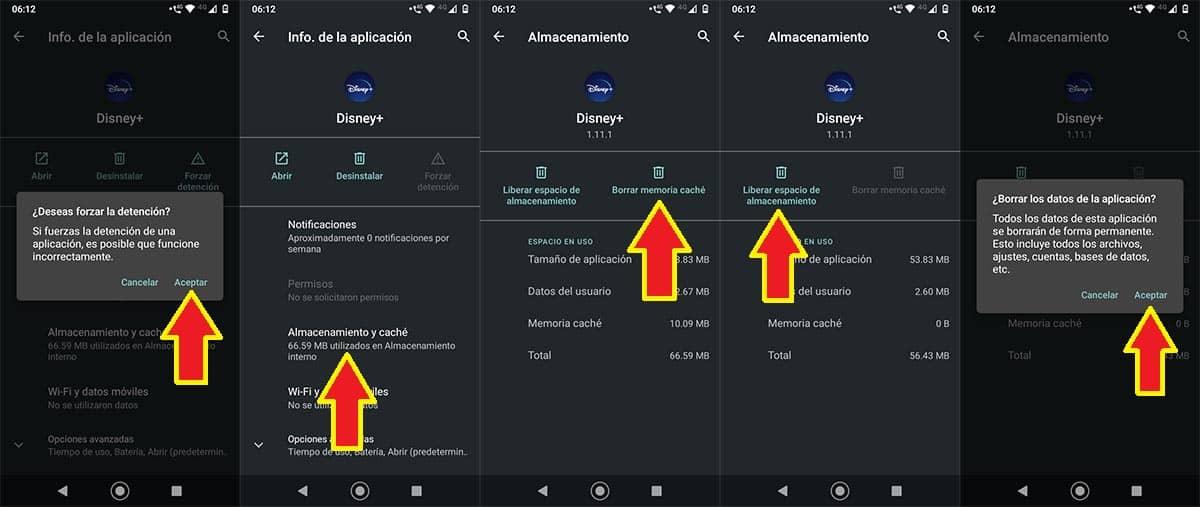 Borrar caché Disney Plus Android