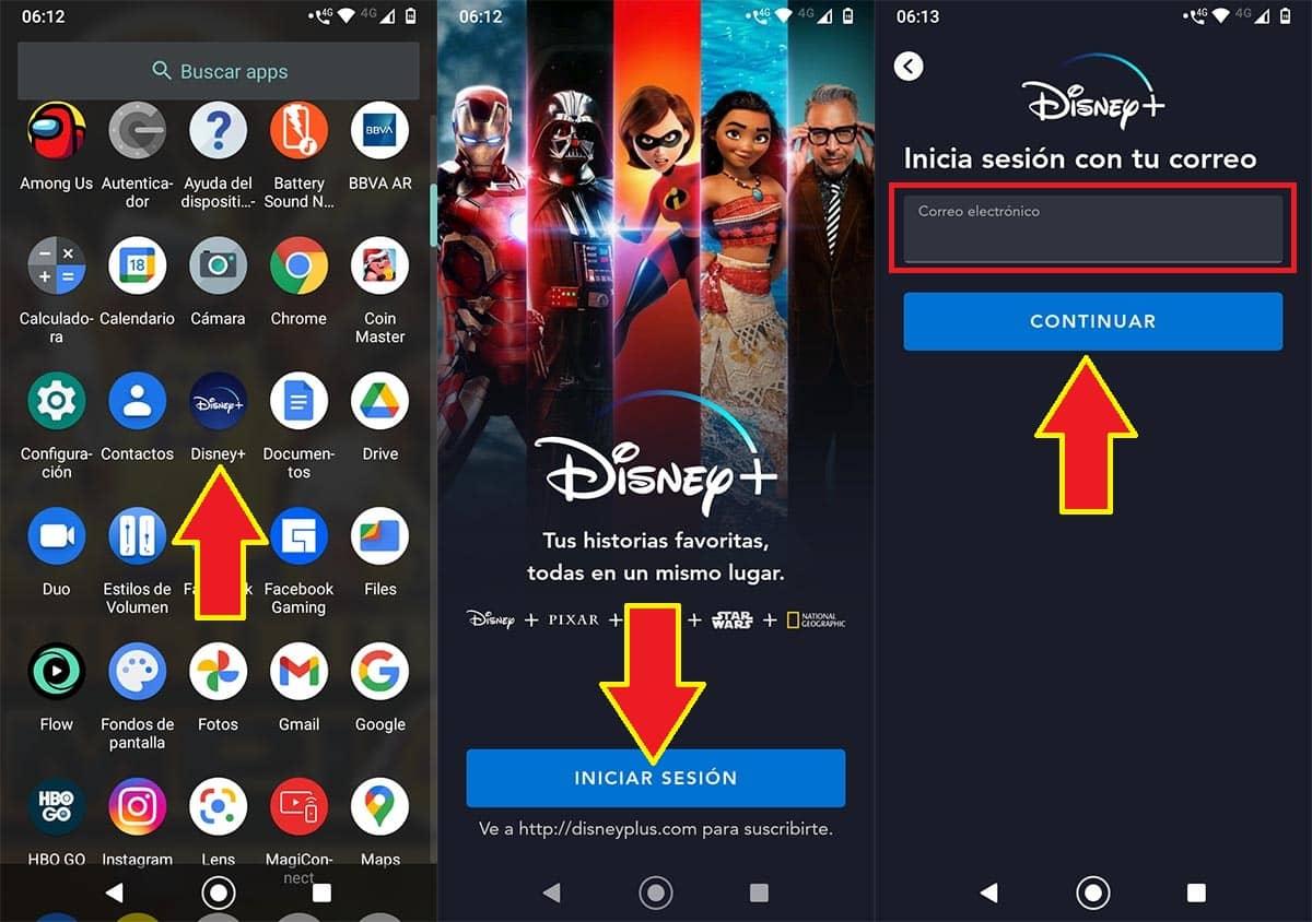 Cómo iniciar sesión Disney Plus app