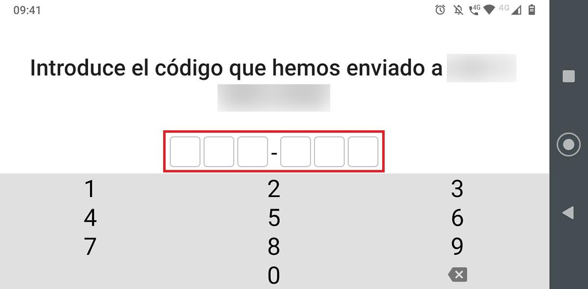 Código de verificación SMS Signal tablet