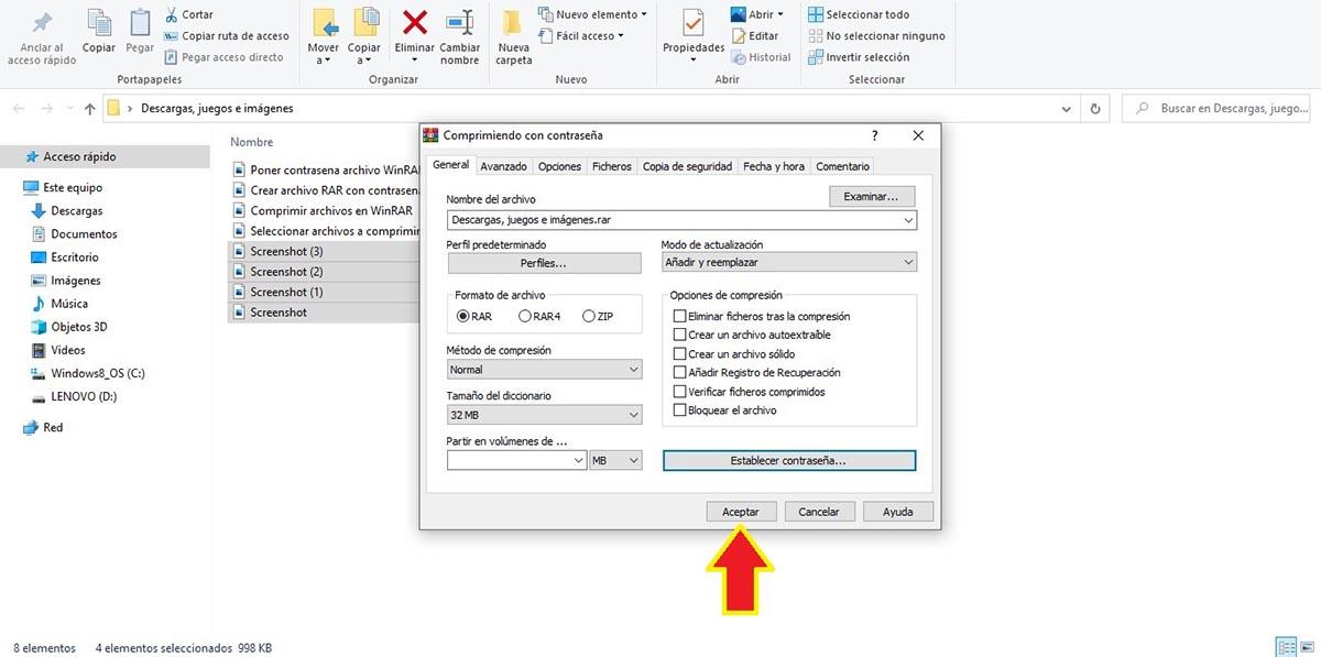 Comprimir archivos en WinRAR con contraseña