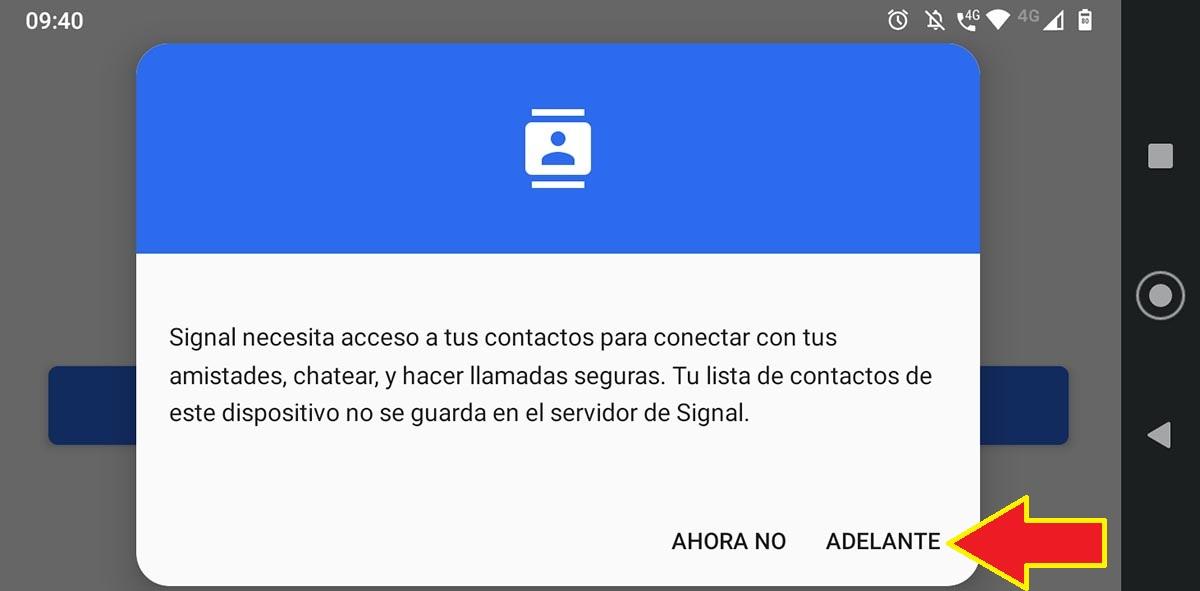 Configurar app Signal para Tablet