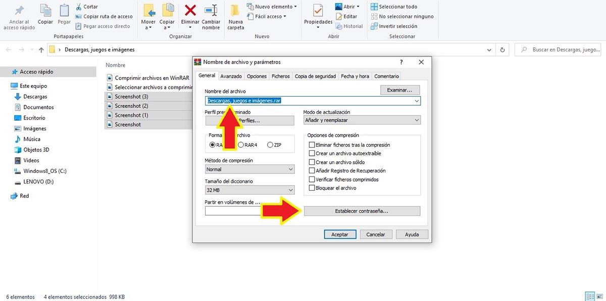 Crear archivo RAR con contraseña