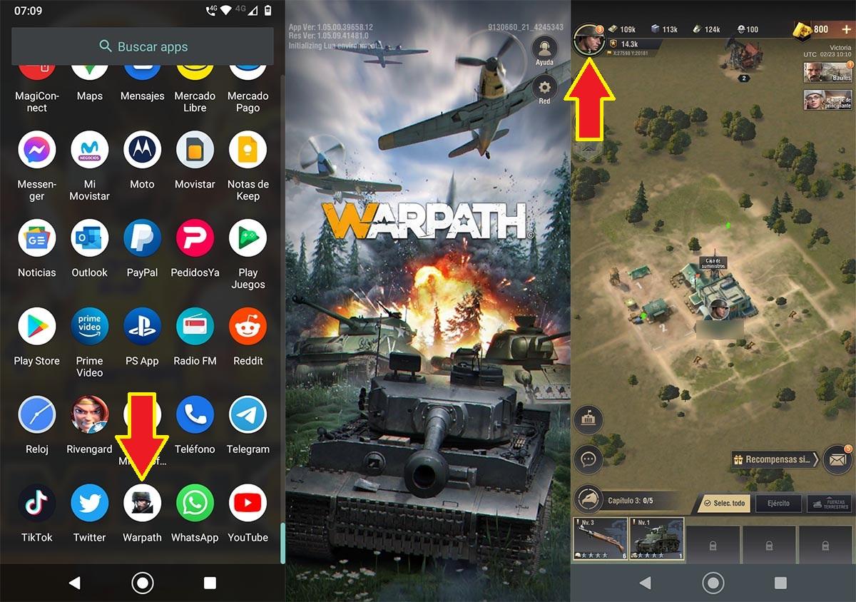 Abrir juego Warpath Android