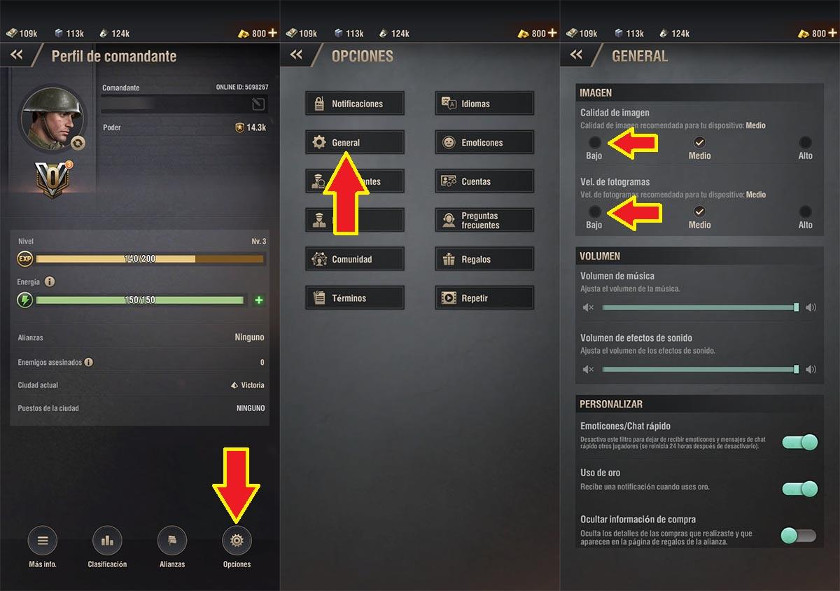 Cambiar gráficos Warpath