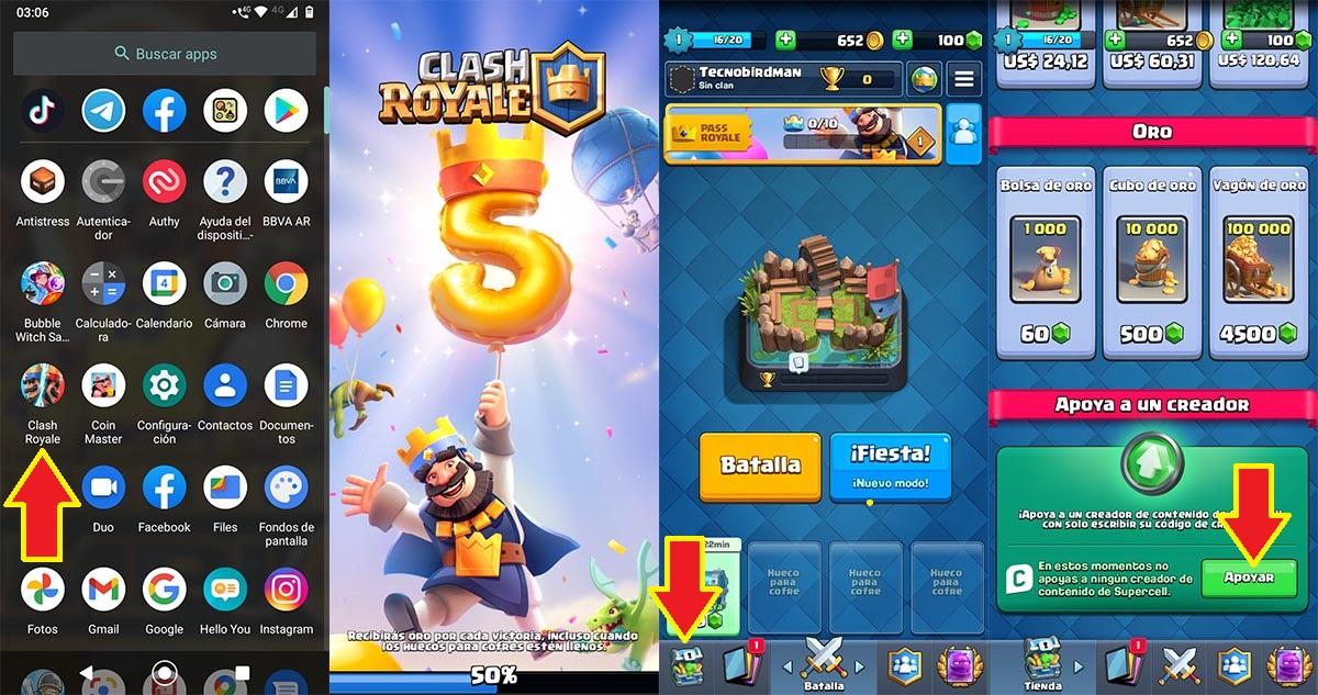 Apoyar a un creador Clash Royale