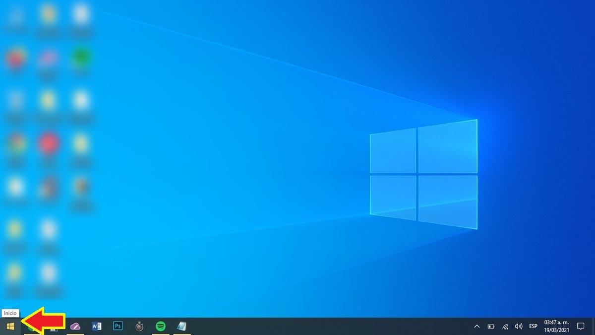 Hacer clic en Inicio Windows 10