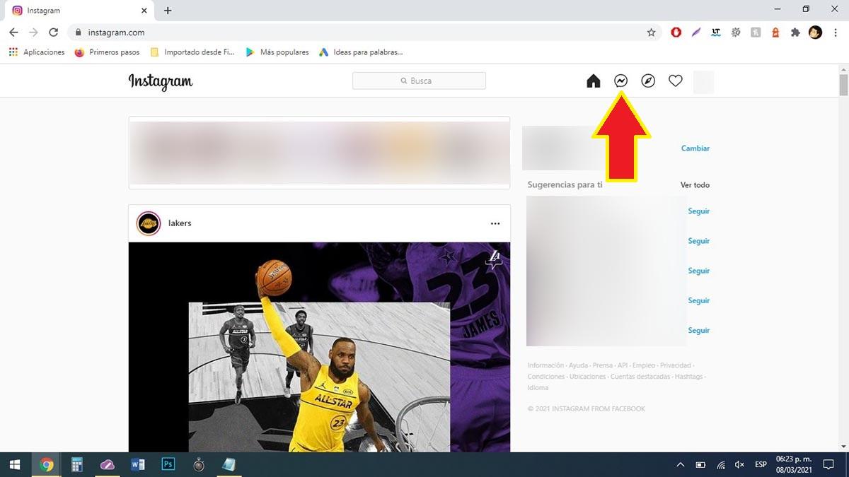 Ver mensajes Instagram en PC