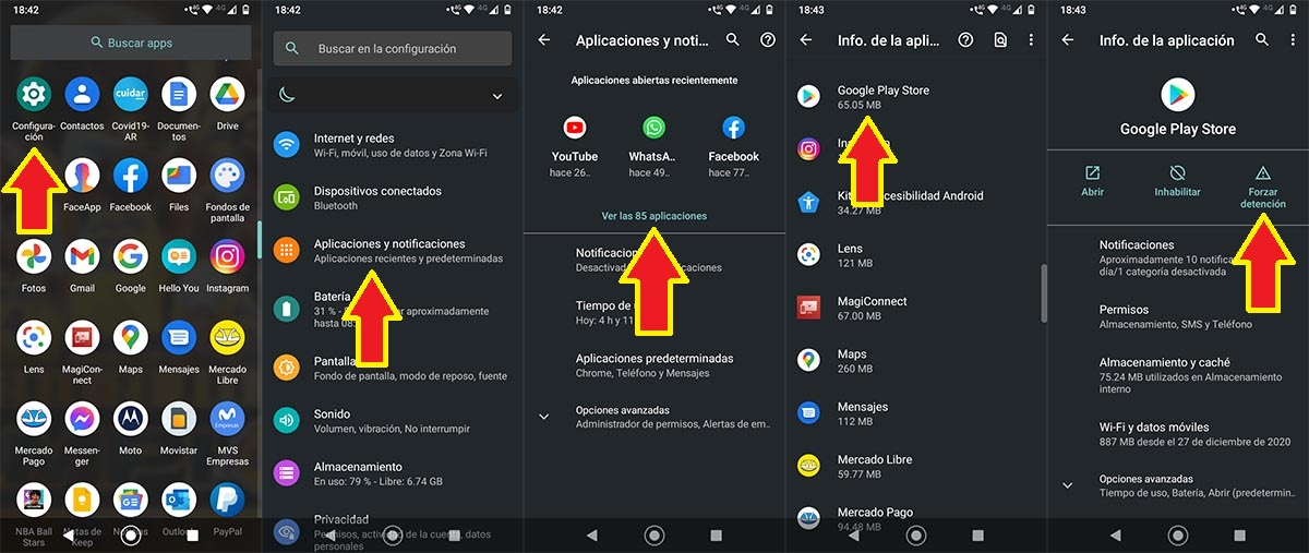 Ajustes Google Play Store Android