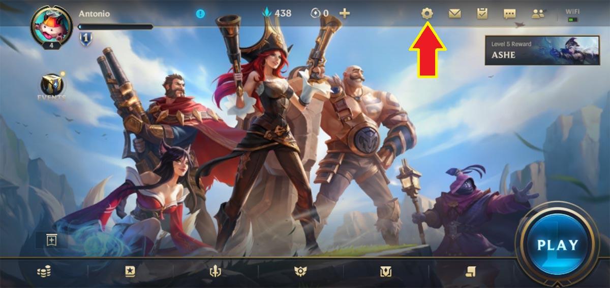 Entrar en los ajustes de League of Legends Wild Rift