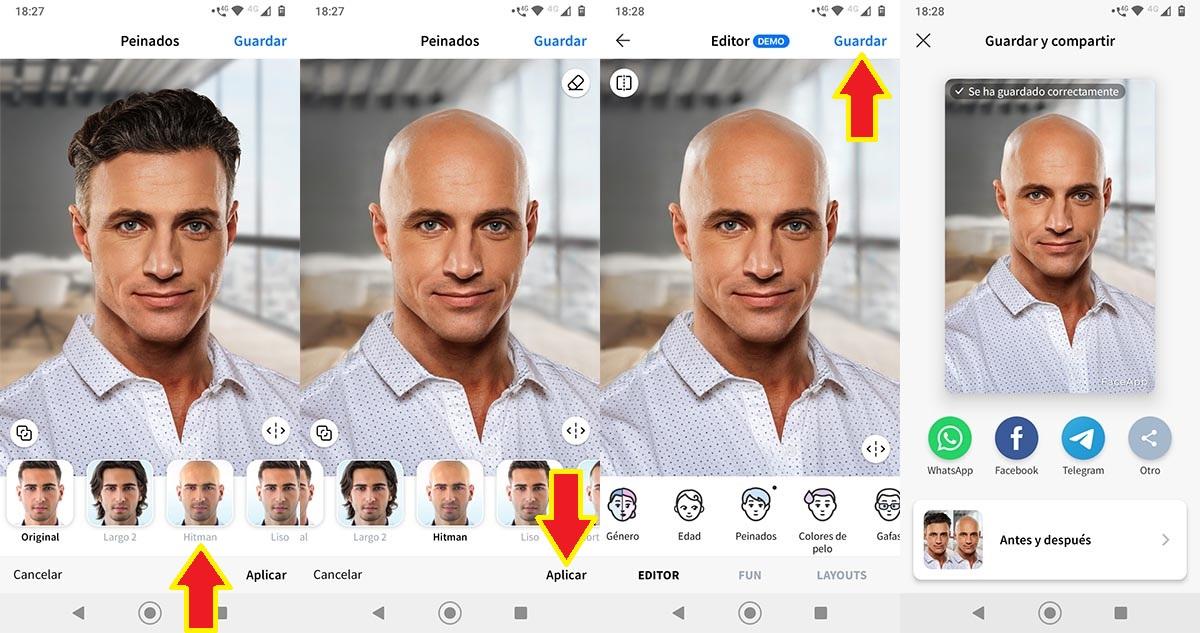 Hacerte calvo filtro de FaceApp
