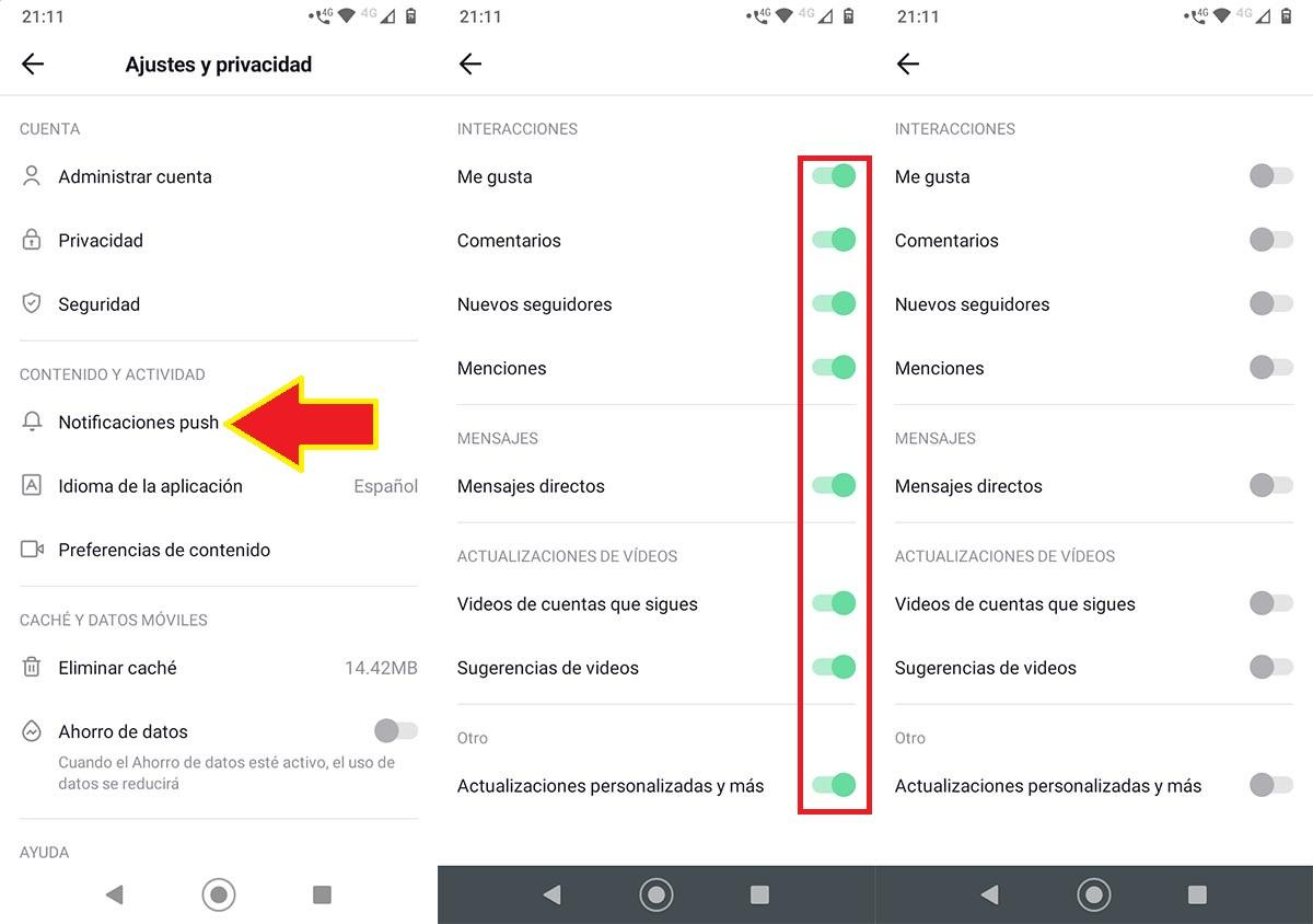 Desactivar las notificacion de TikTok Lite