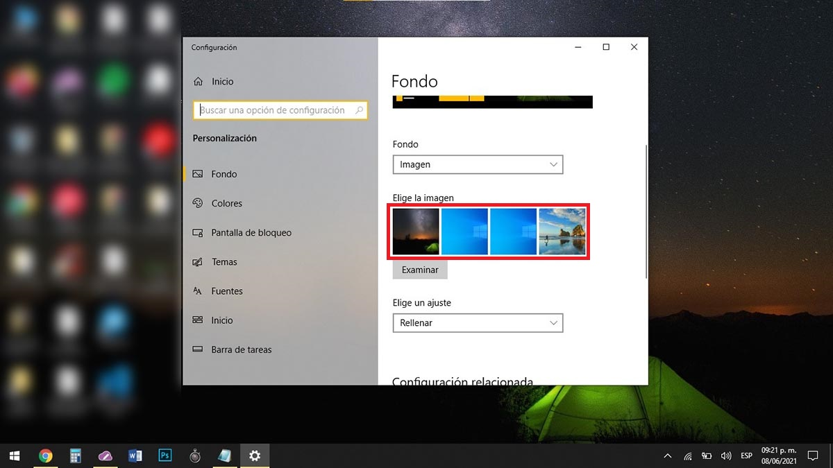 Elegir fondo de pantalla Windows 10