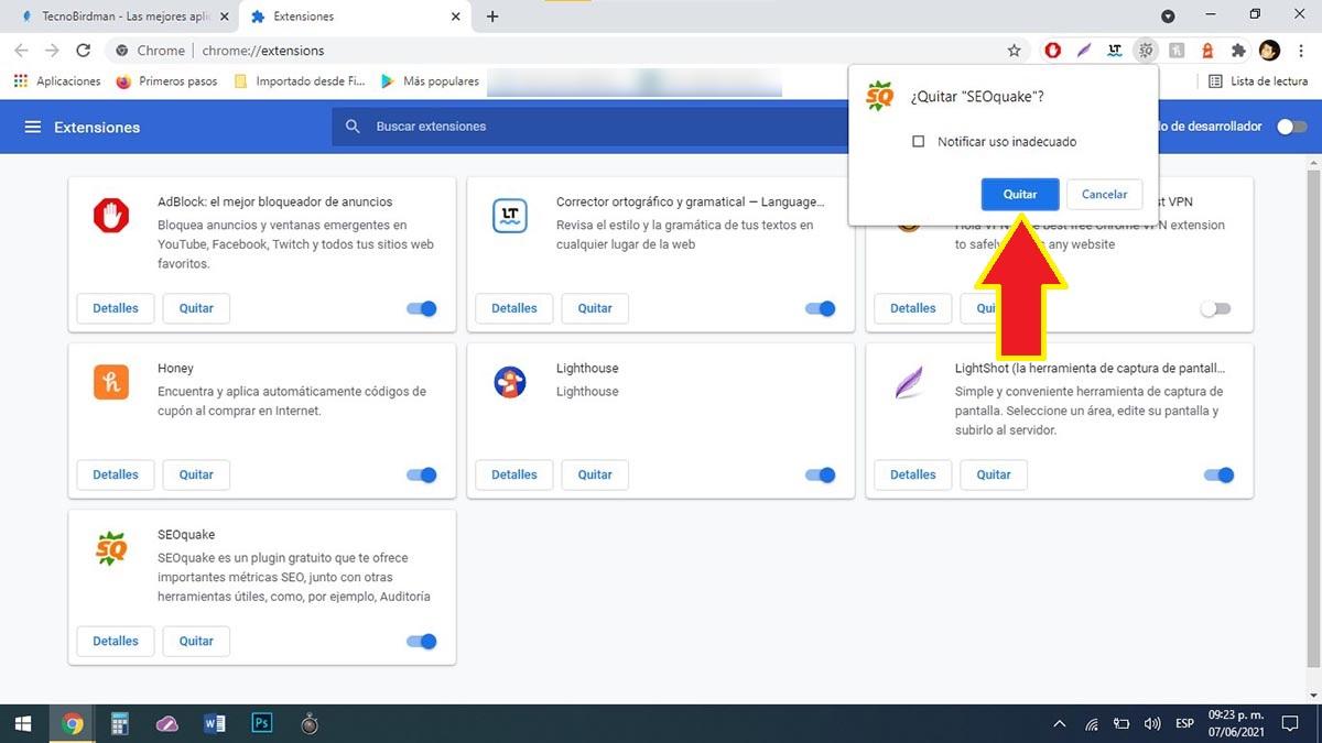 Eliminar extensión Chrome PC
