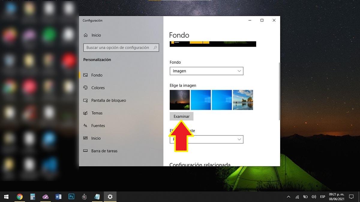 Examinar imágenes fondo de pantalla Windows 10