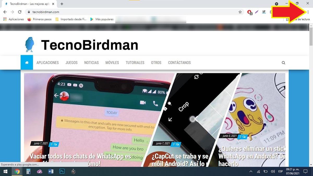 Menú de opciones Google Chrome PC