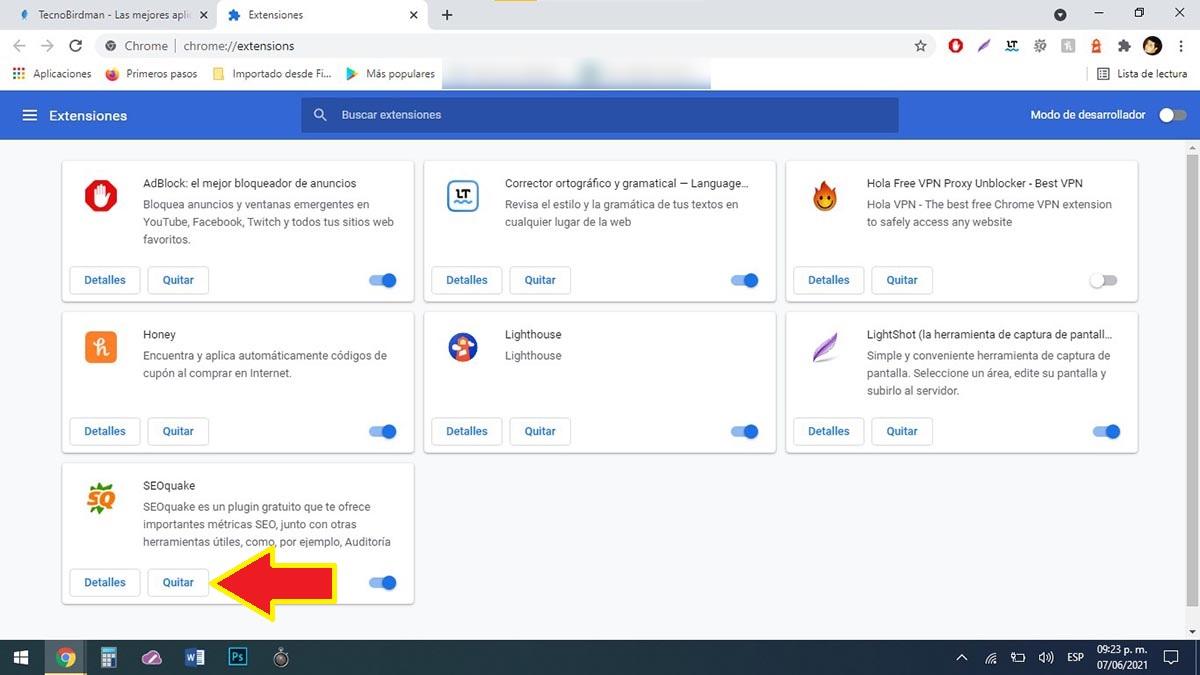 Quitar extensiones Chrome PC