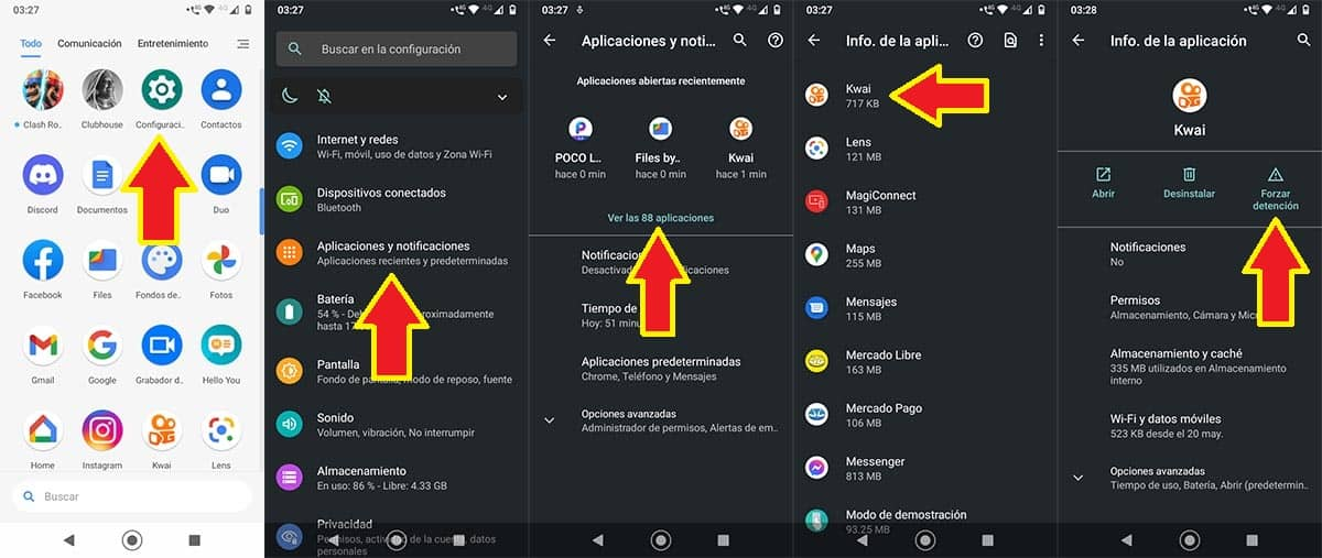 Configuracion Kwai Android
