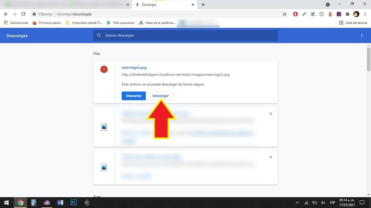 Descargar archivo que no se puede descargar de forma segura Chrome