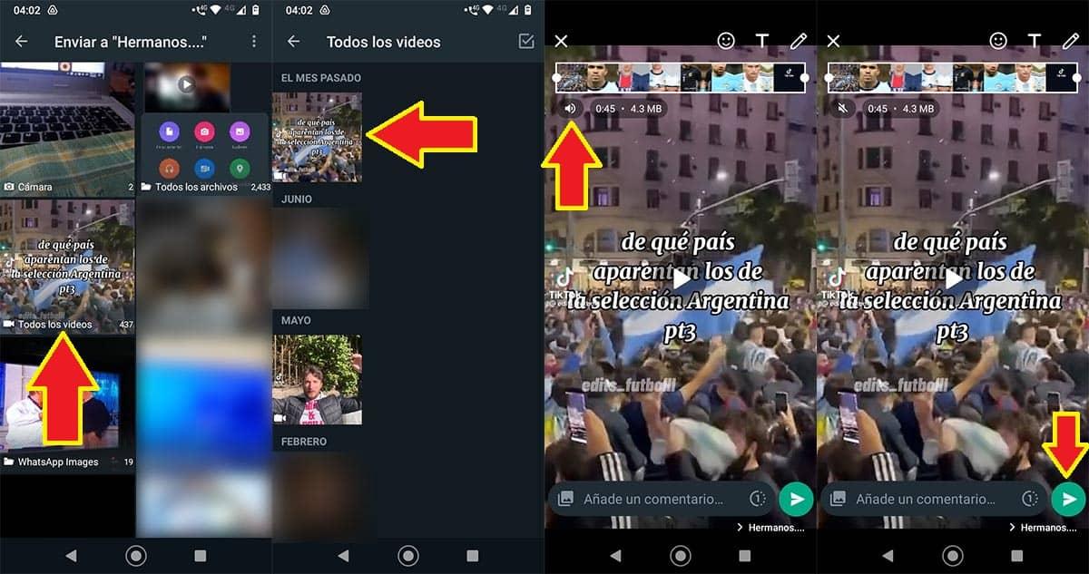 Enviar vídeo sin sonido por WhatsApp