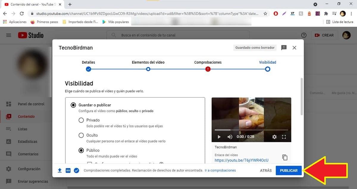 Publicar Short en YouTube desde el PC