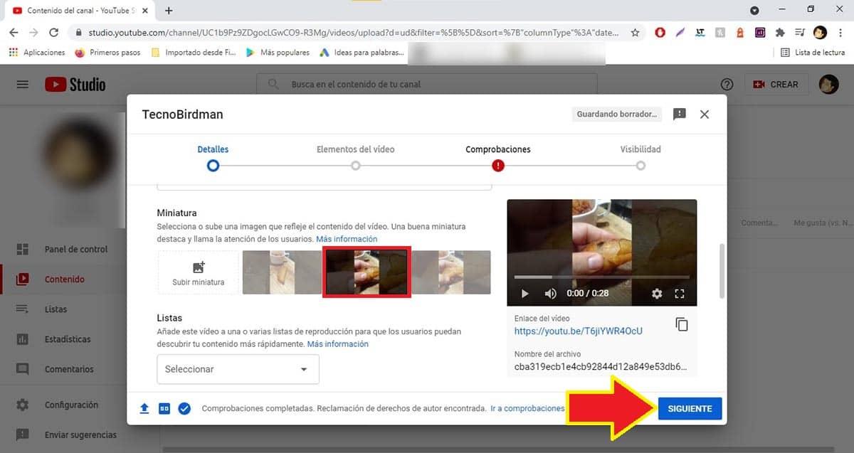 Seleccionar miniatura YouTube PC