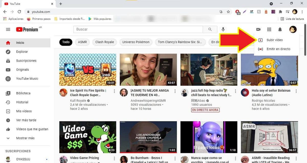 Subir video YouTube PC