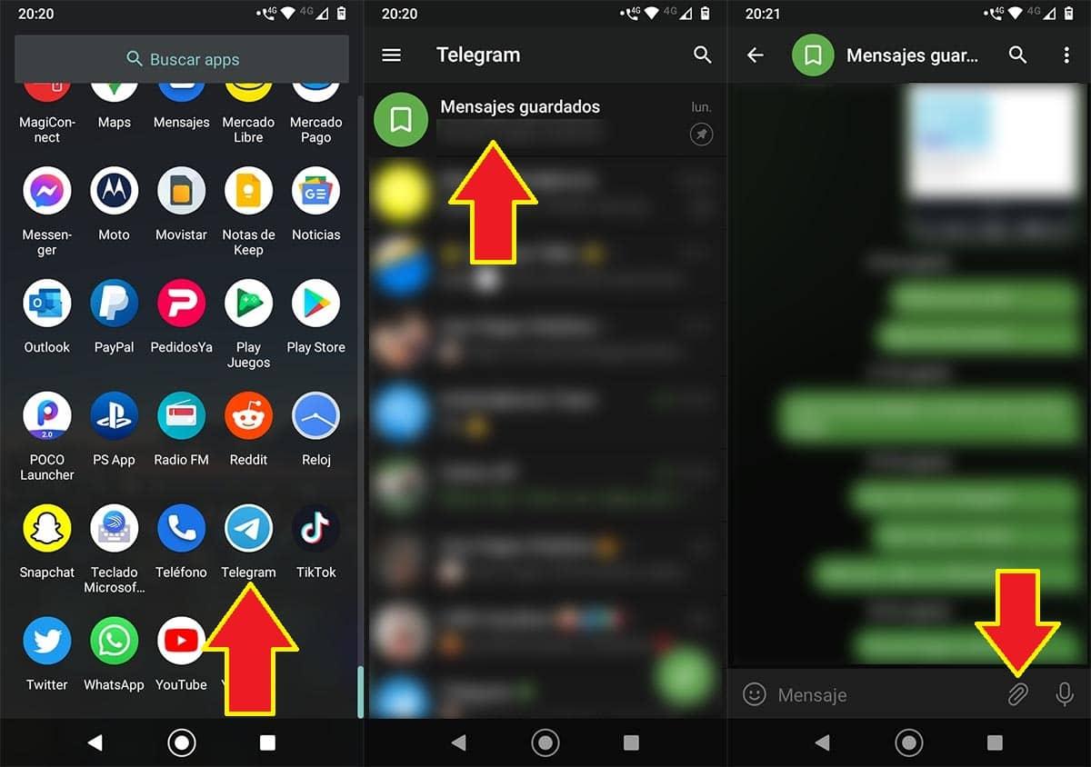 Abrir la app de Telegram en Android