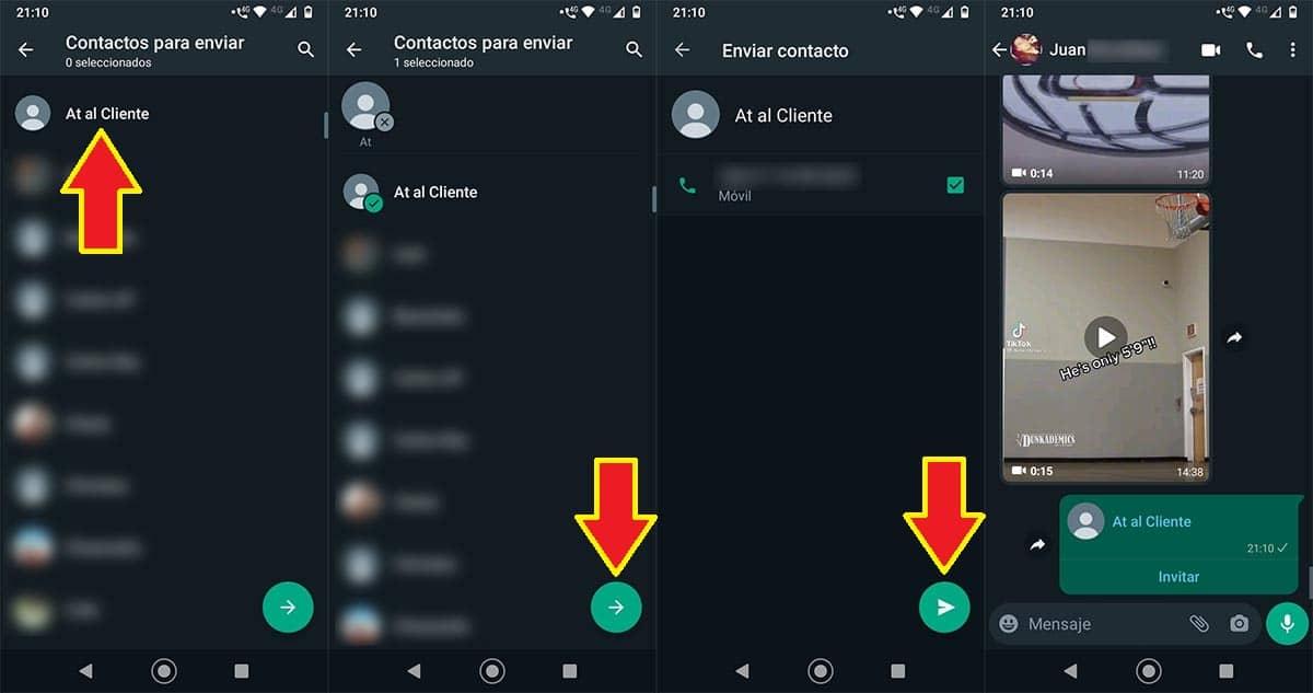 Compartir contactos por WhatsApp