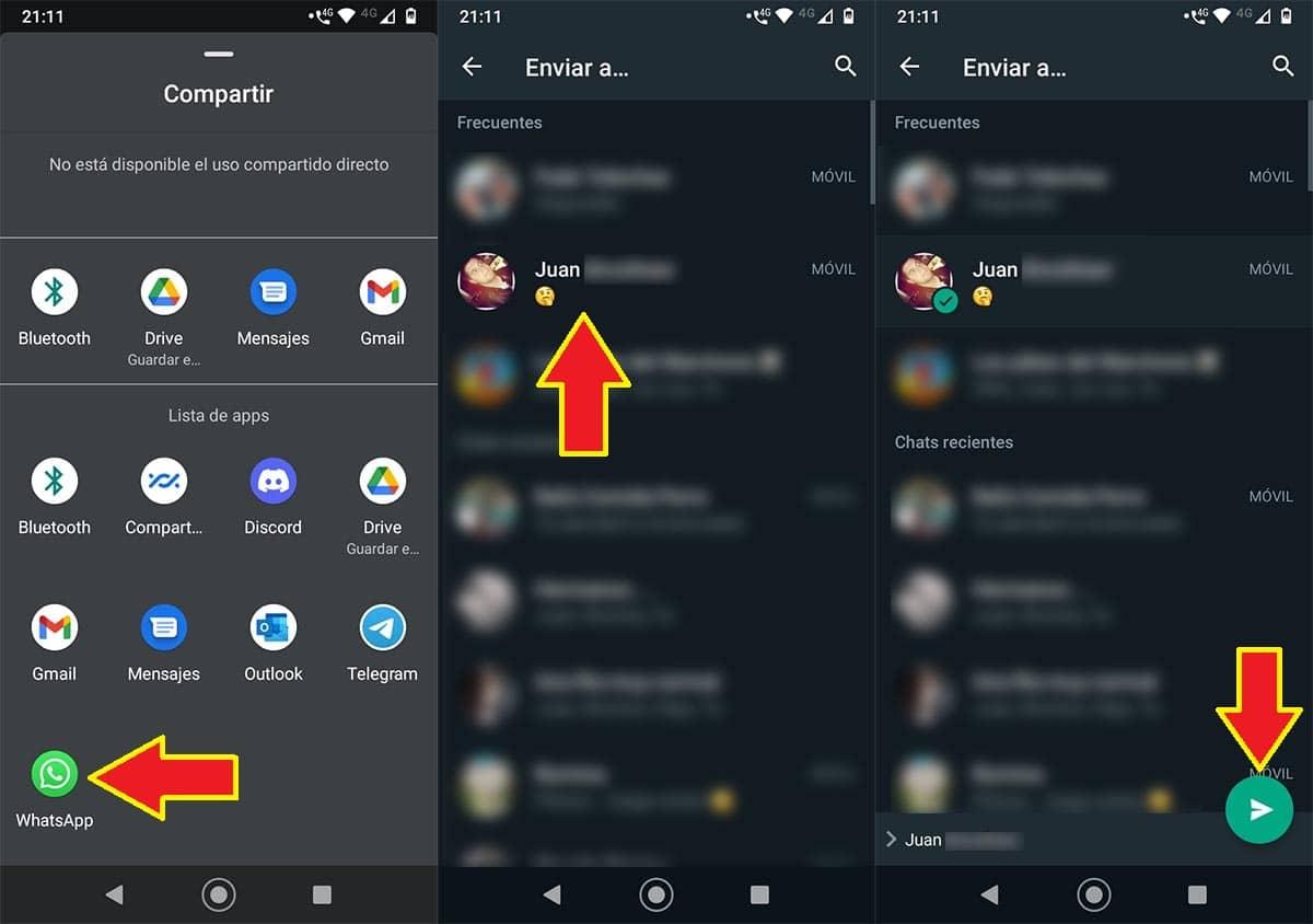 Compartir un contacto en WhatsApp