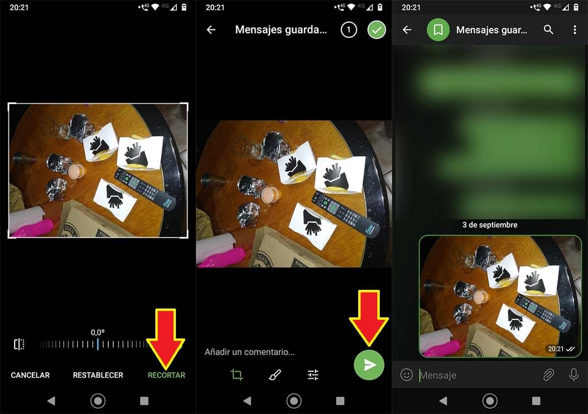 Enviar imágenes giradas en Telegram