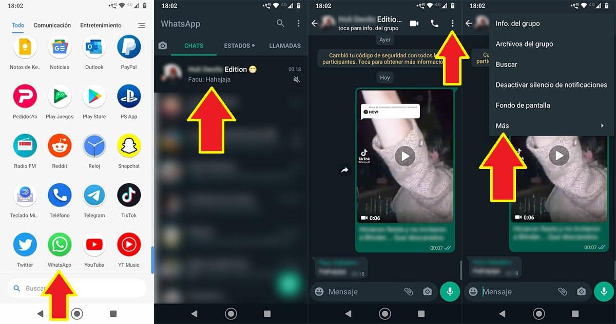 Opciones grupo de WhatsApp