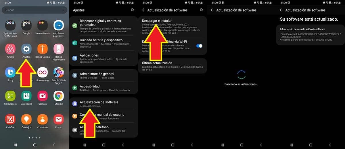 Actualizar el Android del móvil Samsung