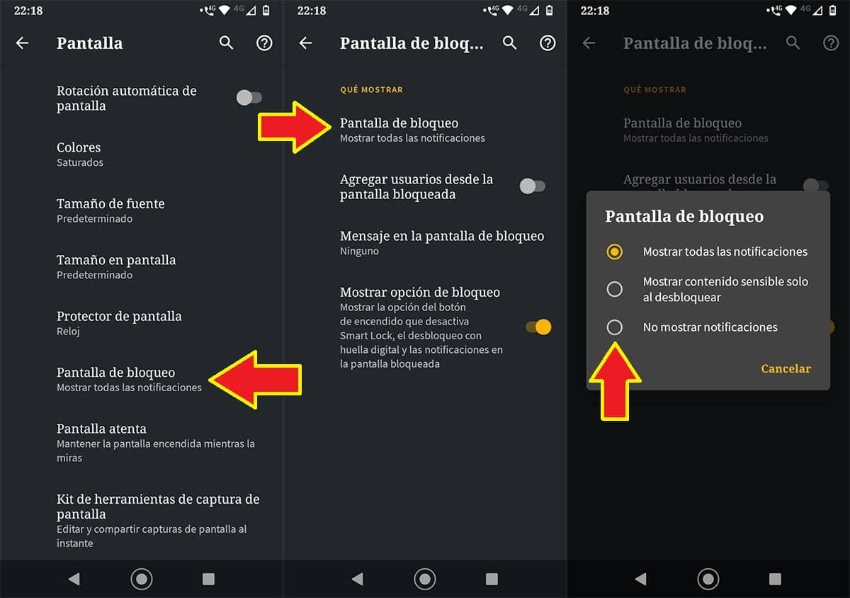 Ocultar las notificaciones pantalla de bloqueo Motorola